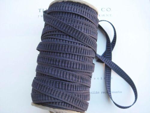 "10yd Beautiful Vintage Pleated Rouched Navy Eggplant? Rayon Ribbon 5/16"" UNUSED"