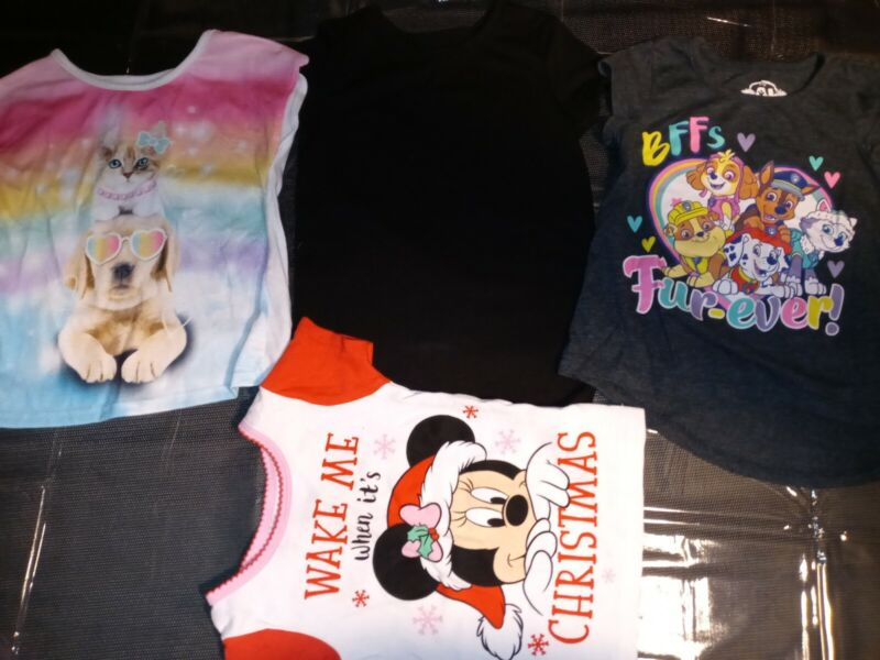 Lot Of 4 Baby Girl Infant Toddler Paw Patrol Minnie Mouse Dog Tops Shirt Size 3t