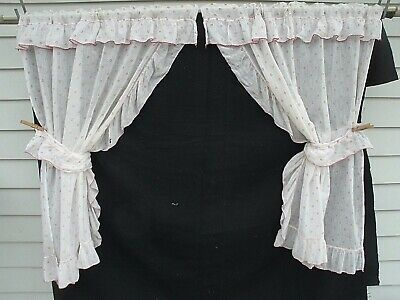 Vtg Retro 1940-50s- White  Dotted Red-Ruffle Trim--Kitchen Curtains---Delicate
