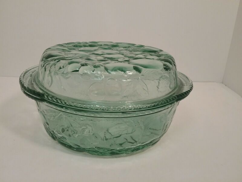 Orchard Fruit Green Glass 3 Quart Oven Proof Casserole Dish With Lid