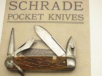 Antique SCHRADE CUT CO Pre-1948 Scout Utility Knife Peachseed Bone