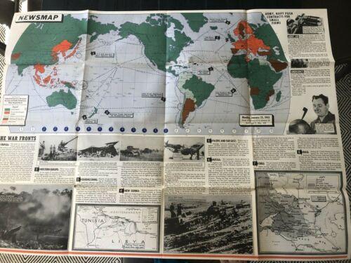 Large WWII Vintage Newsmap - January 25, 1943