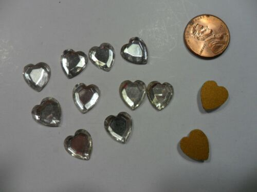 Vintage Western Germany US Zone Clear Glass Hearts Flat Back - 12 pieces