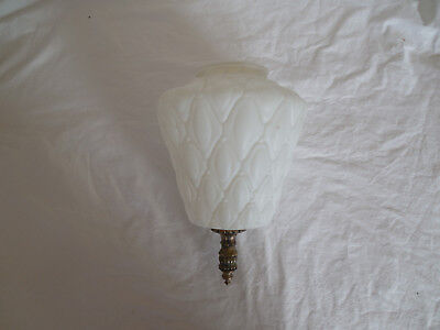 Vintage white frosted, satin glass pendant lamp shade w/brass tone accent