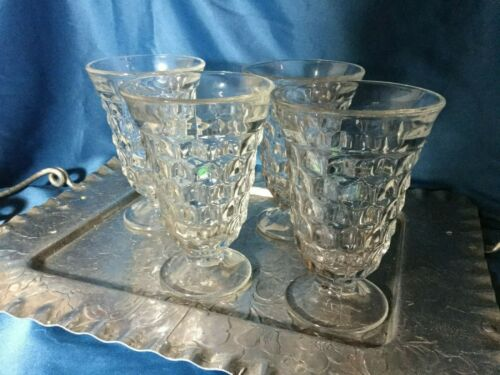Jeanette cube cubist clear set of 4 water goblets glasses 5.5in