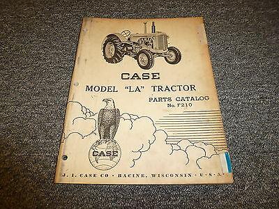 Case Model La Tractor Original Vintage Parts Catalog Manual Manual F210