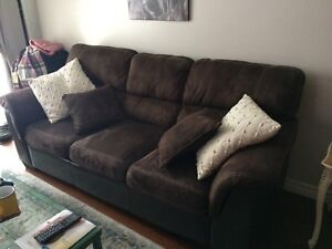 Beautiful deep brown couch/armchair set