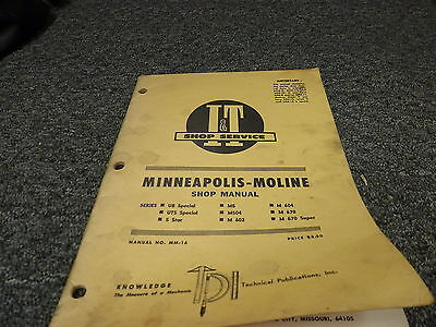Minneapolis Moline 5 Star And Ub Uts Special Tractor Service Repair Manual
