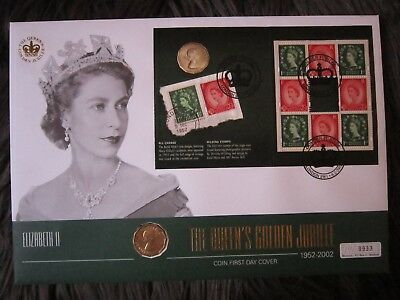 Queens Golden Jubilee 1952-2002 Coin First Day Cover & Royal Mail Wilding Stamps