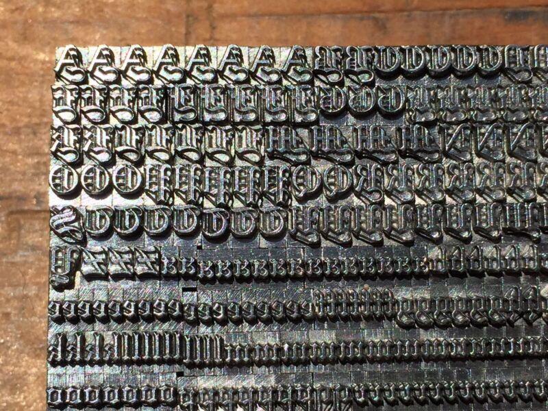 Antique VTG 12pt Fancy Wedding Text Letterpress Print Type A-Z #s Complete Set