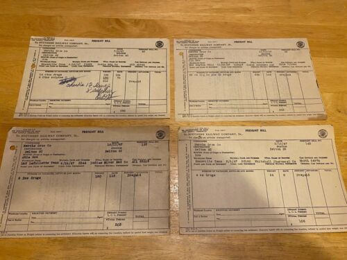 Vintage Ephemera – 1947 Southern Railway Freight Bills – Lot Of 4