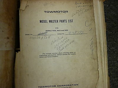 Towmotor Models 422s 462s 502s Forklift Lift Truck Parts Catalog Manual Book