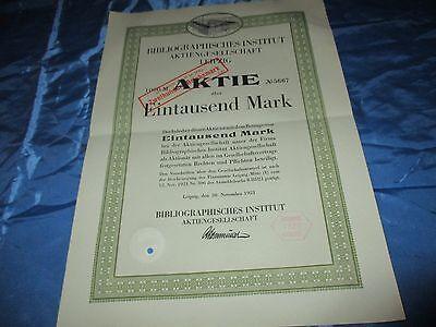histor.  AKTIE  , Bibliographisches Institut LEIPZIG  1921 // 1000 Mark ,# 5667