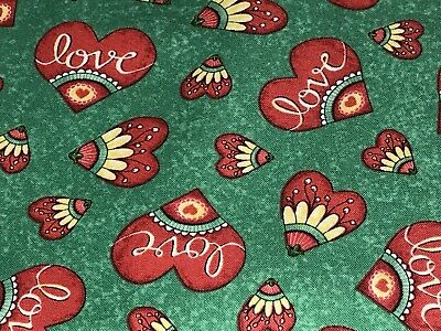 Fabric Birds Love Grows Here Hearts on Dark Green Cotton by the 1/4 yard