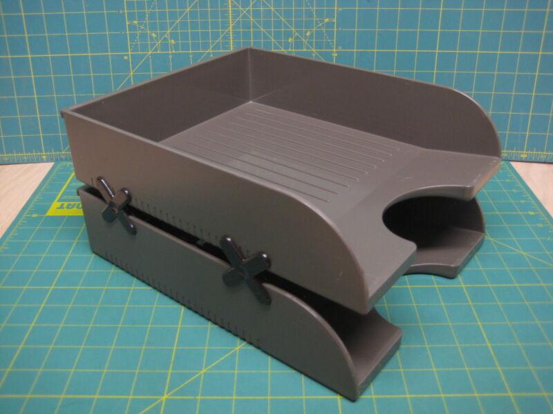 """2 - HERMAN MILLER 10"""" Paper Tray Hanging OR Desktop LETTER Size Holder Organizer"""
