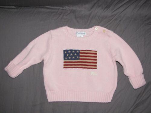 Ralph Lauren Baby Girl Pink Knit Pullover Sweater Americana USA Flag Logo 6-9-12