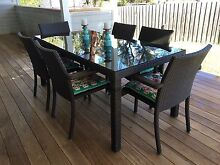 7 Piece Wicker & Glass Dining Setting Warriewood Pittwater Area Preview