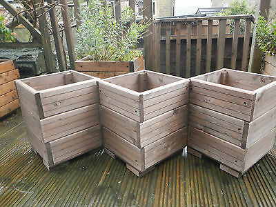 3 x square decking style wooden garden planters plant pots