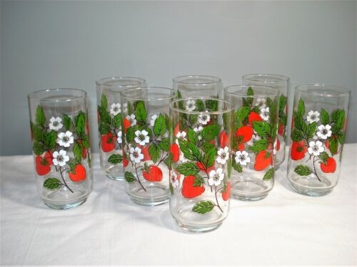 8 Vintage Libbey Strawberry Blossoms Drinking Glasses Tumbler Strawberries 16oz