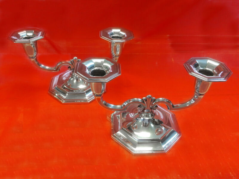 Sterling Set of Two 930 Silver Argentium Candelabra Candle Holders