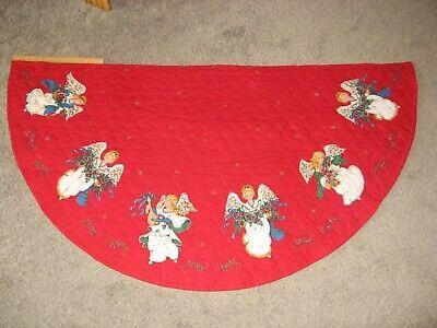 Vintage Qulited Christmas Angel Hearth Rug or Half Tree Skirt Mantle Scarf Red