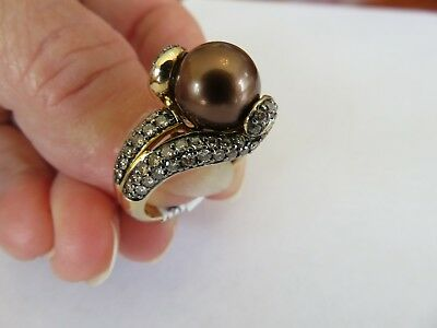 Le Vian 14K 1.35 CT CHOCOLATE DIAMONDS & 10 MM TAHITIAN CHOCOLATE PEARL RING