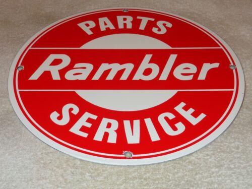 "VINTAGE RAMBLER CAR & TRUCK PARTS & SERVICE 11 3/4"" PORCELAIN METAL GAS OIL SIGN"