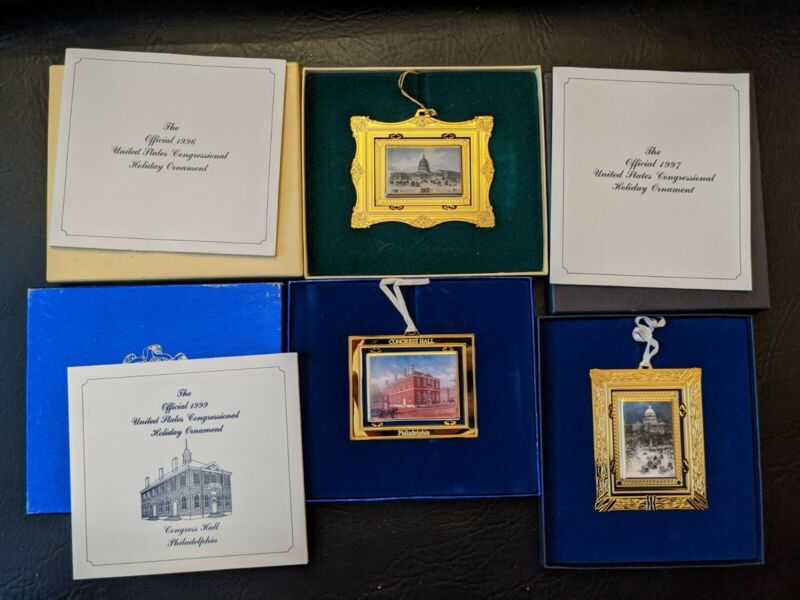 Lot of 3 1996 1997 1999 US Congressional Holiday Ornament Congress Hall