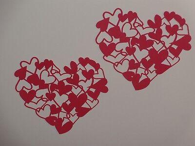 Die Cut Heart Shape - 2 intricate cut heart shape in red scrapbooking die cuts greeting card die cut