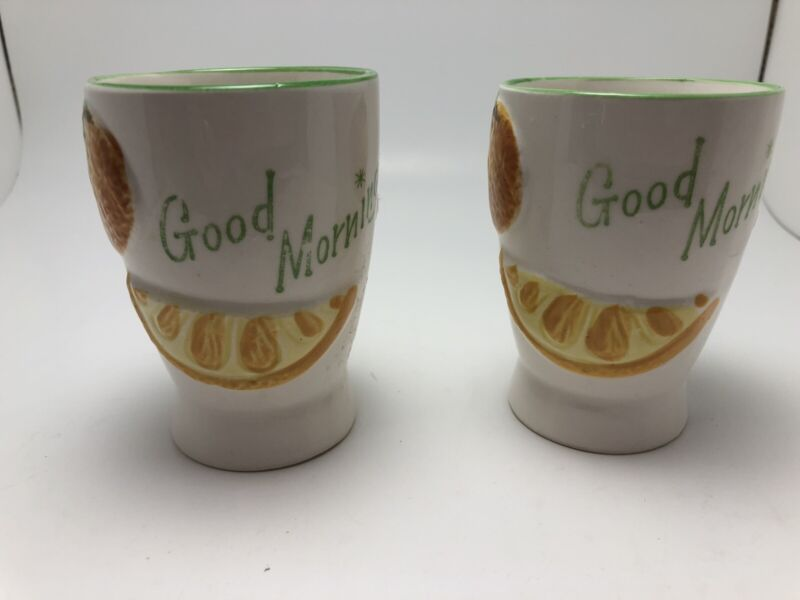 Vintage pair Ceramic Good Morning Juice Glasses National Pottery Co