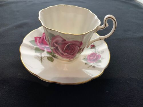 Adderley Pink Rose Fine Bone China Tea Cup And Saucer. Numbered 1262