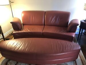 Red Leather Sofa with Ottoman