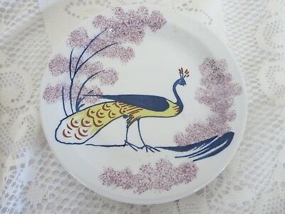 "Williamsburg Chowning's Tavern Bread & Butter Plate 6 1/2"" Peacock Bird"