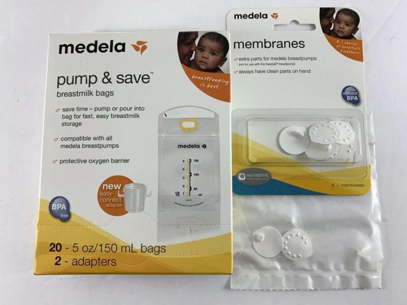 20 MEDELA Pump & Save Breastmilk Bags w/ Adapters + 8 MEDELA Membranes NEW