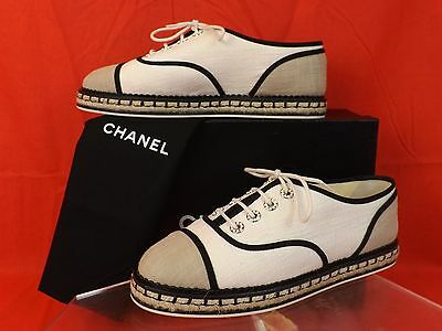 NIB CHANEL BEIGE CANVAS LACE UP PEARLS CC ESPADRILLE FLAT OXFORDS SNEAKERS 40.5