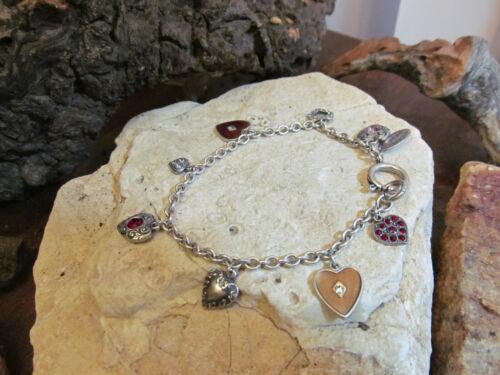 Stunning Vintage Silver tone CATHERINE POPESCO Many Hearts Charm Bracelet