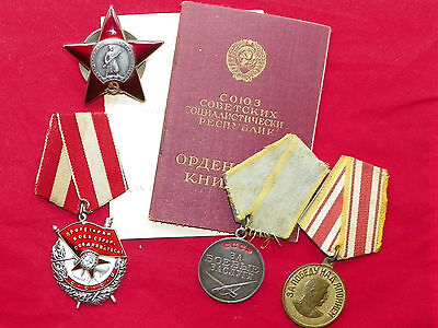 ORIGINAL SOVIET RUSSIAN USSR GROUP SET GROUP ORDER BADGE  MEDAL WITH DOCUMENTS