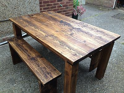 6 Seat Dining/kitchen table Reclaimed Pine Wood/timber + 2 Bench Seats