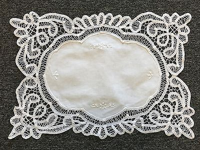Embroidered Cotton Lace Battenburg Embroidery Placemat Table Runner White Beige (Beige Table Runner)