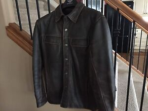 REDUCED Men's Brown Distressed Leather Harley  Jacket - Med