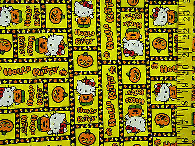 HELLO KITTY HALLOWEEN CANDY CORN PATCH 100% COTTON FABRIC BY THE 1/2 - Hello Kitty Halloween Fabric Yard