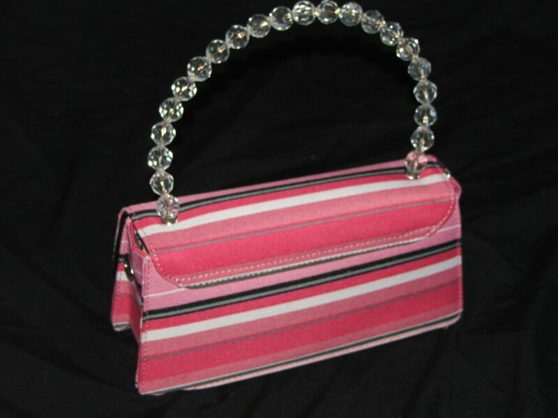 Womens pretty summer striped,  pink purse, with beaded handle, new