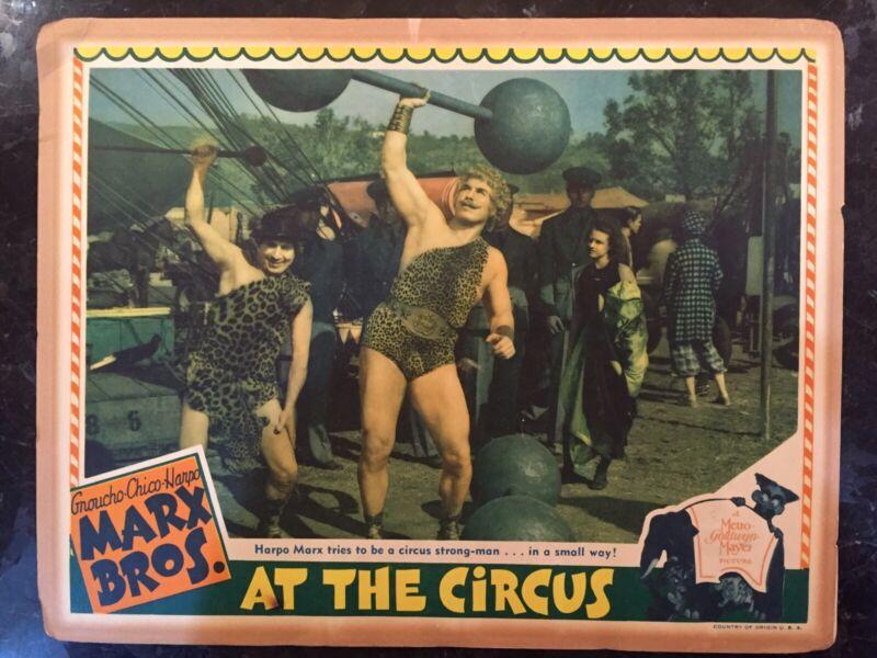 MARX BROTHERS AT THE CIRCUS - ORIGINAL MGM LOBBY CARD W/HARPO & STRONGMAN 1935