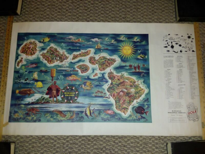 Vtg 1950 Dole Pineapple Advertise Litho Print Poster Hawaii Territory Travel Map