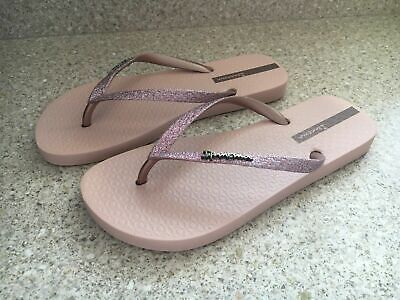 Brand New Ipanema Ladies Champagne Sparkle Blingy Flip Flops RRP £19.99