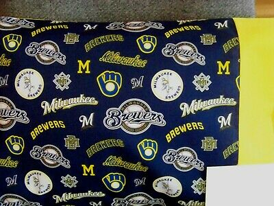Milwaukee Brewers Bedding - TRAVEL SIZE PILLOW CASE 2 SIDED MILWAUKEE BREWERS/YELLOW CUFF #9694