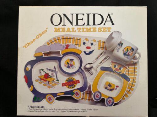 """Vintage Oneida 1994 Kid Toddler Meal Time Set """"Choo-Choo"""" Railroad Melamine 7 Pc"""