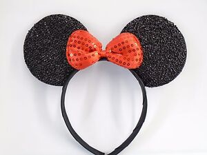 f955c0105552 MINNIE MOUSE EARS Headband Black Sparkle Shimmer -- Red Sequin Bow Mickey