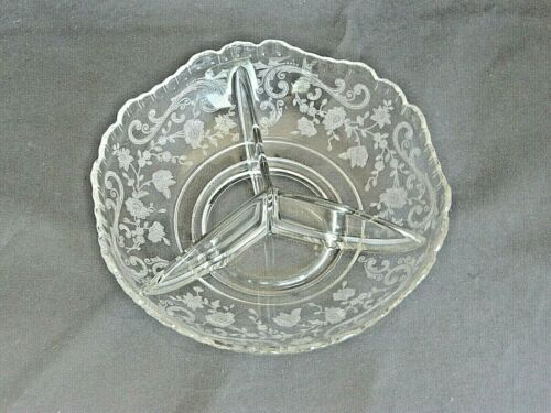 3-Part Bowl-Chantilly Etching by Cambridge-Elegant Glass-Relish Dish-Vtg 1938-58