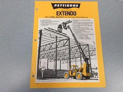 Rare Pettibone Extendo Sb-68-b Forklift Sales Sheet